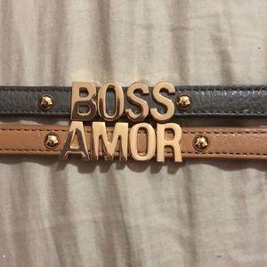 Boss and amor bracelets